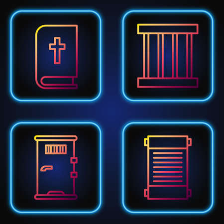 Set line Decree, paper, parchment, scroll, Prison cell door, Holy bible book and Prison window. Gradient color icons. Vector illustration