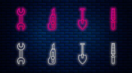 Set line Stationery knife, Shovel, Wrench spanner and Chisel tool for wood. Glowing neon icon on brick wall. Vector.