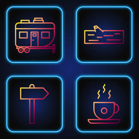 Set line Coffee cup, Road traffic signpost, Rv Camping trailer and Wooden log. Gradient color icons. Vector.