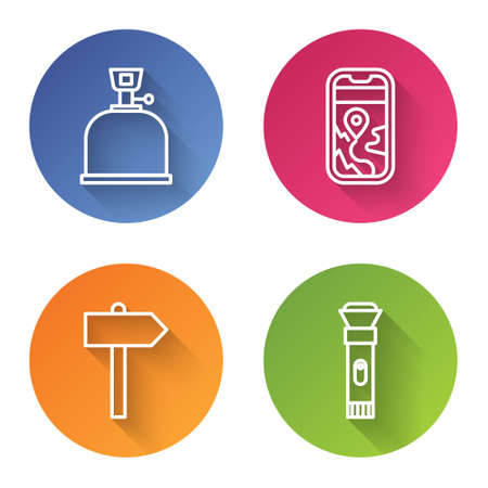 Set line Camping gas stove, City map navigation, Road traffic signpost and Flashlight. Color circle button. Vector.