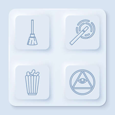 Set line Witches broom, Magic wand, Popcorn in box and Masons. White square button. Vector.