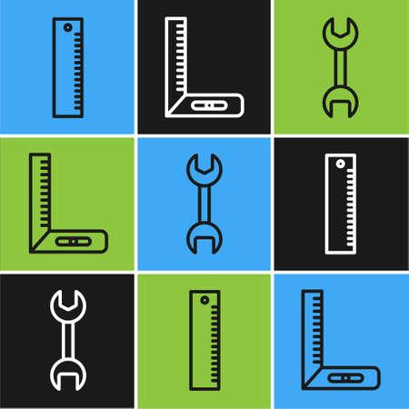 Set line Ruler, Wrench spanner and Corner ruler icon. Vector.