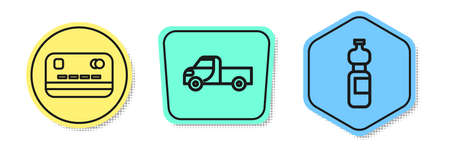 Set line Credit card, Pickup truck and Bottle of water. Colored shapes. Vector.