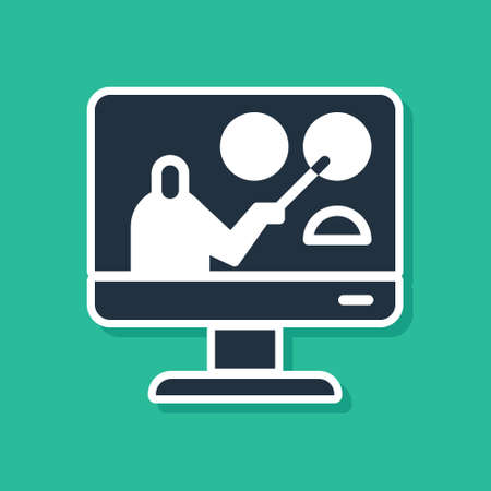 Blue Online education and graduation icon isolated on green background. Online teacher on monitor. Webinar and video seminar learning.  Vector Illustration. Ilustrace