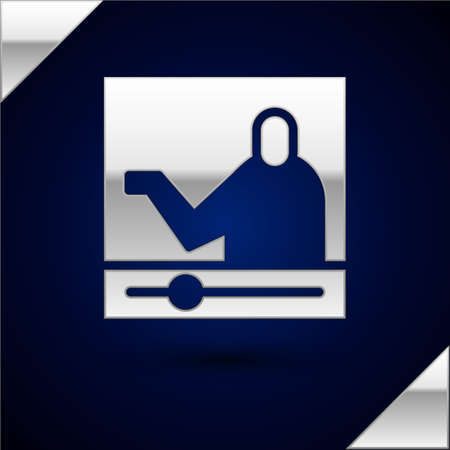 Silver Online education and graduation icon isolated on dark blue background. Online teacher on monitor. Webinar and video seminar learning.  Vector Illustration.