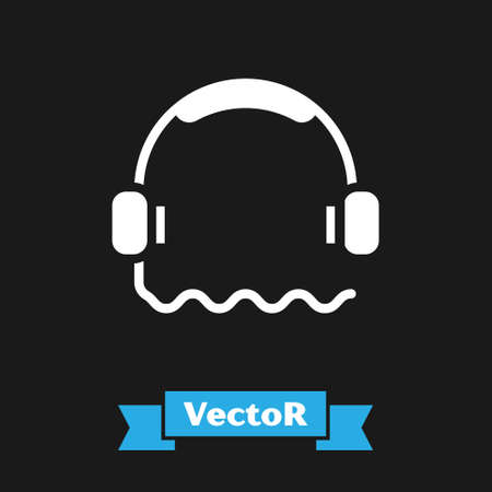 White Headphones icon isolated on black background. Support customer service, hotline, call center, faq, maintenance.  Vector Illustration.