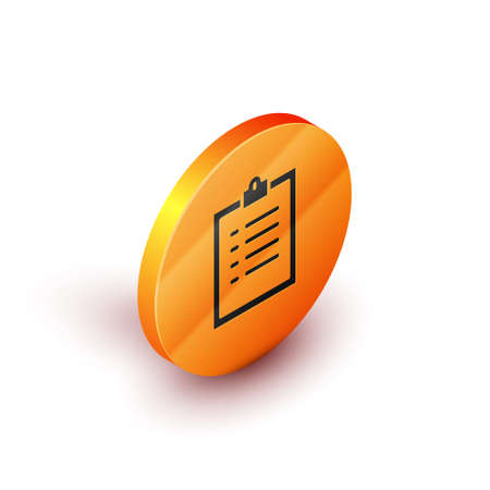 Isometric Clipboard with checklist icon isolated on white background. Control list symbol. Survey poll or questionnaire feedback form. Orange circle button. Vector Illustration. Vectores