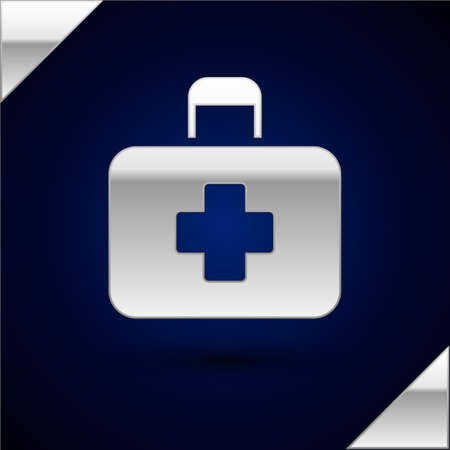 Silver First aid kit icon isolated on dark blue background. Medical box with cross. Medical equipment for emergency. Healthcare concept.  Vector Illustration.