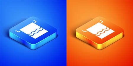 Isometric Towel on a hanger icon isolated on blue and orange background. Bathroom towel icon. Square button. Vector Illustration.