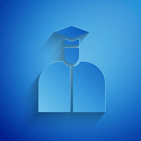 Paper cut Student icon isolated on blue background. Paper art style. Vector Illustration.
