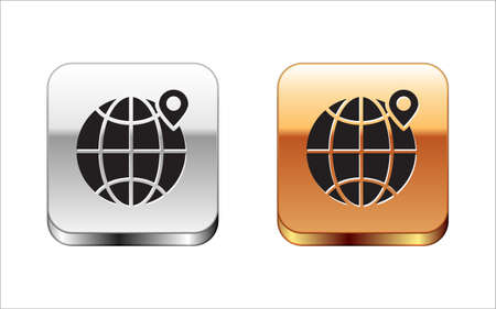 Black Location on the globe icon isolated on white background. World or Earth sign. Silver-gold square button. Vector Illustration.