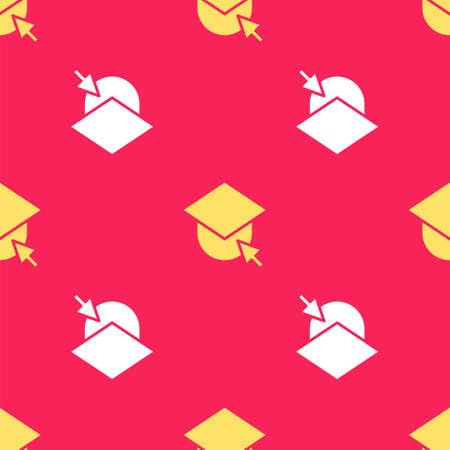 Yellow Graduation cap on globe icon isolated seamless pattern on red background. World education symbol. Online learning or e-learning concept.  Vector Illustration. Foto de archivo - 151148447