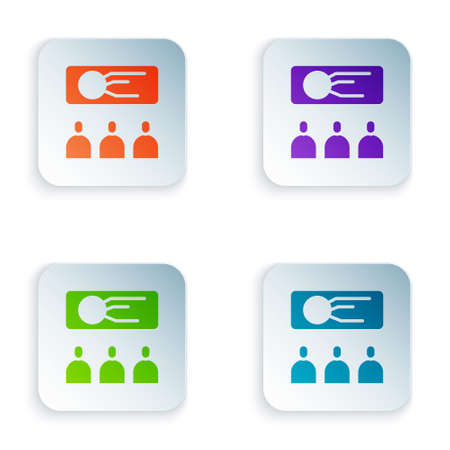 Color Training, presentation icon isolated on white background. Set colorful icons in square buttons. Vector Illustration. 免版税图像 - 151148450