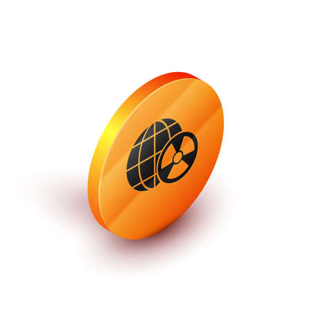 Isometric Planet earth and radiation symbol icon isolated on white background. Environmental concept. Orange circle button. Vector. Ilustracja