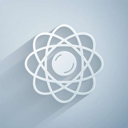Paper cut Atom icon isolated on grey background. Symbol of science, education, nuclear physics, scientific research. Paper art style. Vector.