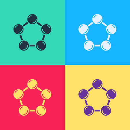 Pop art Molecule icon isolated on color background. Structure of molecules in chemistry, science teachers innovative educational poster. Vector.