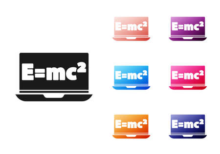 Black Math system of equation solution on laptop icon isolated on white background. E equals mc squared equation on computer screen. Set icons colorful. Vector.