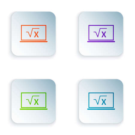 Color Square root of x glyph on chalkboard icon isolated on white background. Mathematical expression. Set colorful icons in square buttons. Vector. Ilustracja