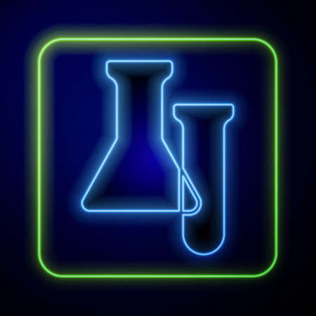 Glowing neon Test tube and flask icon isolated on blue background. Chemical laboratory test. Laboratory glassware.  Vector.