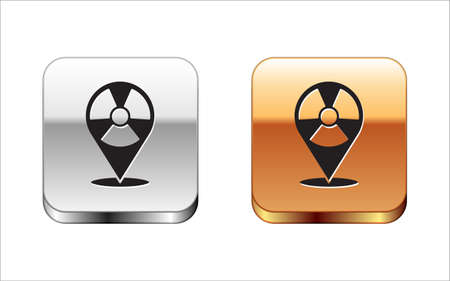 Black Radioactive in location icon isolated on white background. Radioactive toxic symbol. Radiation Hazard sign. Silver-gold square button. Vector. Ilustração