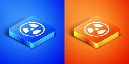 Isometric Radioactive icon isolated on blue and orange background. Radioactive toxic symbol. Radiation Hazard sign. Square button. Vector.