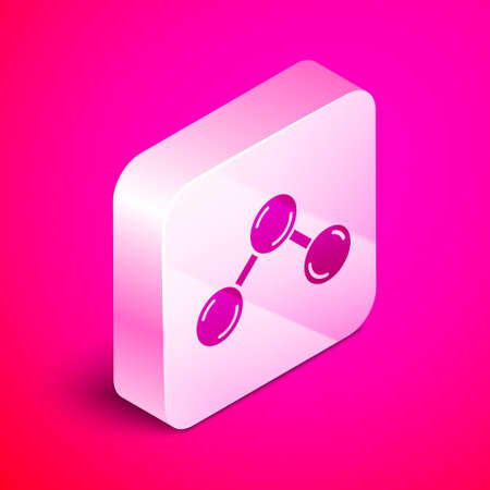 Isometric Molecule icon isolated on pink background. Structure of molecules in chemistry, science teachers innovative educational poster. Silver square button. Vector.