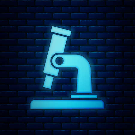 Glowing neon Microscope icon isolated on brick wall background. Chemistry, pharmaceutical instrument, microbiology magnifying tool.  Vector.