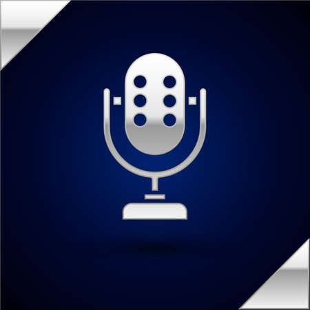 Silver Microphone icon isolated on dark blue background. On air radio mic microphone. Speaker sign.  Vector.
