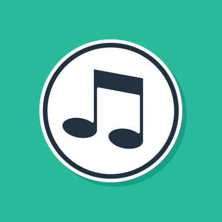 Blue Music note, tone icon isolated on green background.  Vector.
