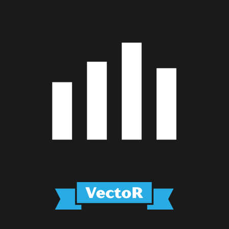 White Music equalizer icon isolated on black background. Sound wave. Audio digital equalizer technology, console panel, pulse musical.  Vector.