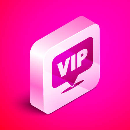 Isometric Location Vip icon isolated on pink background. Silver square button. Vector. Foto de archivo - 151148574