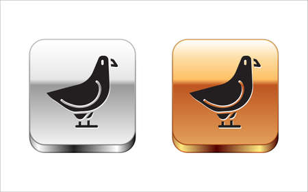 Black Dove icon isolated on white background. Silver-gold square button. Vector.