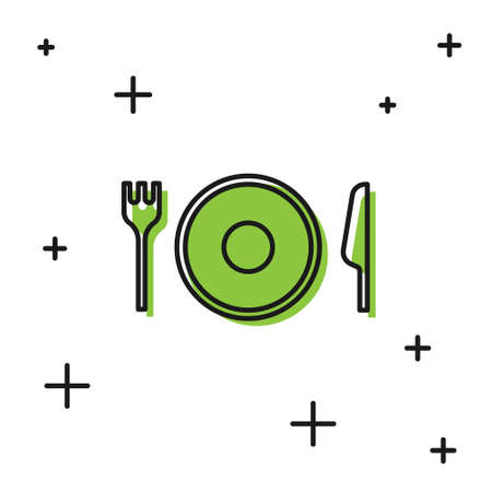 Black Plate, fork and knife icon isolated on white background. Cutlery symbol. Restaurant sign.  Vector.