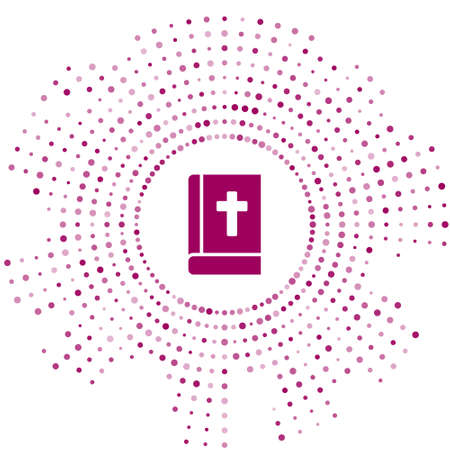 Purple Holy bible book icon isolated on white background. Abstract circle random dots. Vector.