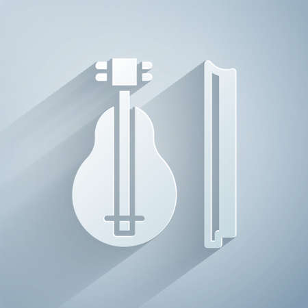 Paper cut Violin icon isolated on grey background. Musical instrument. Paper art style. Vector. Ilustrace