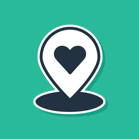 Blue Map pointer with heart icon isolated on green background. Valentines day. Love location. Romantic map pin.  Vector.