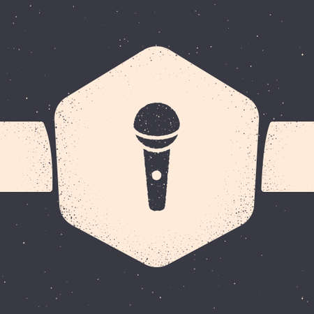 Grunge Microphone icon isolated on grey background. On air radio mic microphone. Speaker sign. Monochrome vintage drawing. Vector. Ilustrace