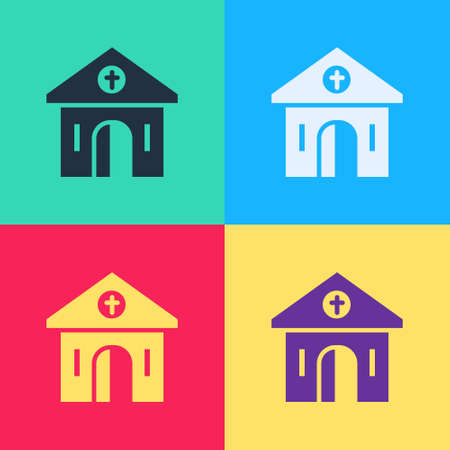 Pop art Church building icon isolated on color background. Christian Church. Religion of church.  Vector.