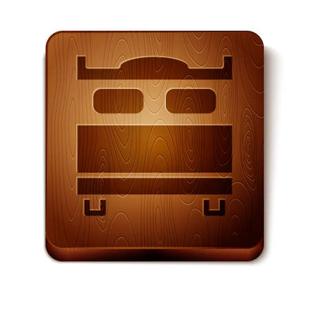Brown Bedroom icon isolated on white background. Wedding, love, marriage symbol. Bedroom creative icon from honeymoon collection. Wooden square button. Vector. Stock Illustratie
