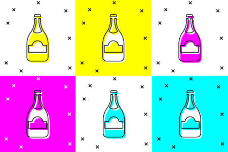 Set Champagne bottle icon isolated on color background.  Vector.