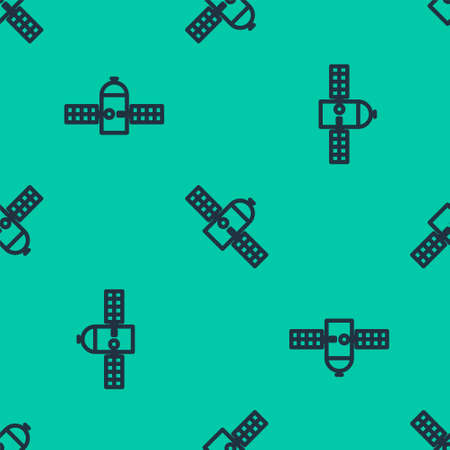 Blue line Satellite icon isolated seamless pattern on green background. Vector Illustration.