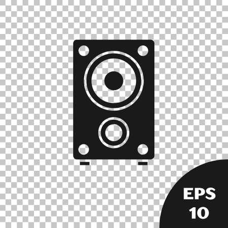 Black Stereo speaker icon isolated on transparent background. Sound system speakers. Music icon. Musical column speaker bass equipment.  Vector.
