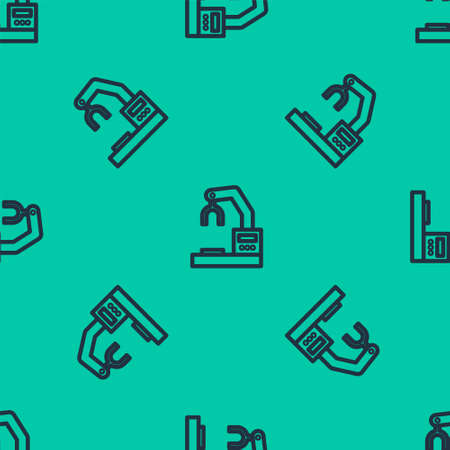 Blue line Industrial machine robotic robot arm hand factory icon isolated seamless pattern on green background. Industrial robot manipulator. Vector Illustration. Illustration