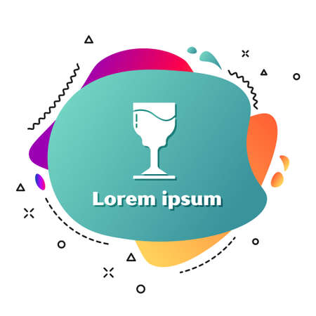 White Wine glass icon isolated on white background. Wineglass icon. Goblet symbol. Glassware sign. Happy Easter. Abstract banner with liquid shapes. Vector.