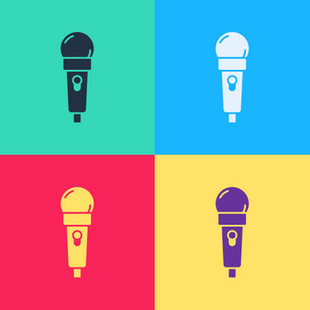 Pop art Microphone icon isolated on color background. On air radio mic microphone. Speaker sign.  Vector. Ilustrace