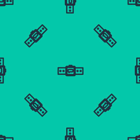 Blue line Smartwatch icon isolated seamless pattern on green background. Vector Illustration.
