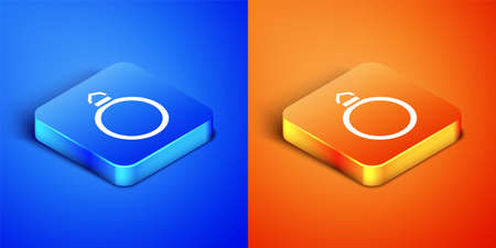 Isometric Diamond engagement ring icon isolated on blue and orange background. Square button. Vector. Illusztráció