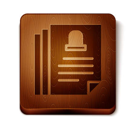 Brown Death certificate icon isolated on white background. Wooden square button. Vector. Stock Illustratie
