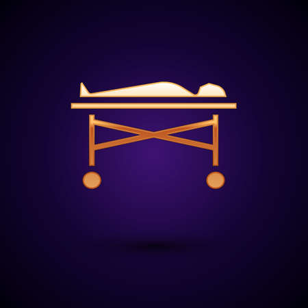 Gold Dead body in the morgue icon isolated on black background.  Vector. Stock Illustratie