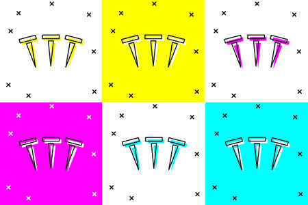 Set Metallic nails icon isolated on color background.  Vector. Ilustracja